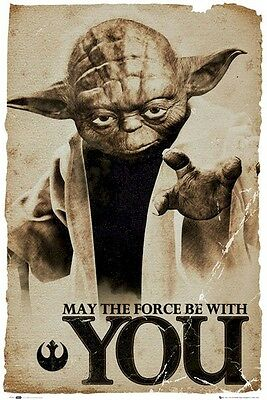 STAR WARS POSTER ~ YODA MAY FORCE BE WITH YOU 24x36 Movie Empire Strikes Back