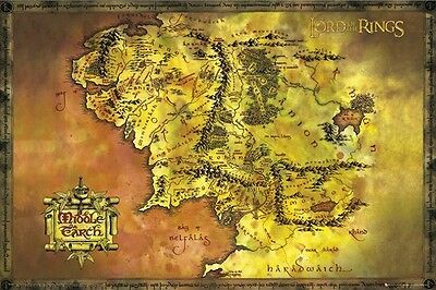 LORD OF THE RINGS POSTER ~ MIDDLE EARTH GOLD MAP 24x36 Movie Shire Mordor Hobbit
