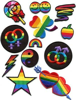 Lot of 12 gay lesbian pride rainbow disco boho LGBT appliques iron-on patches