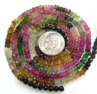 """ALL NATURAL MULTI TOURMALINE FACETED RONDELLE BEADS 14"""" 4mm  T15"""
