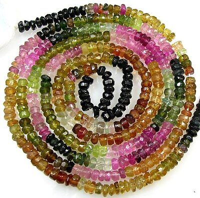 """ALL NATURAL MULTI TOURMALINE FACETED RONDELLE BEADS 14"""" 3mm  T16"""