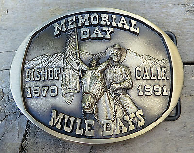 Memorial Day Mule Days Bishop California Western 1991 Vintage Belt Buckle