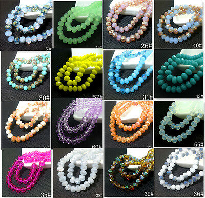 wholesal100pcs Rondelle Faceted Crystal Glass Jade Loose Beads 6mm HOT