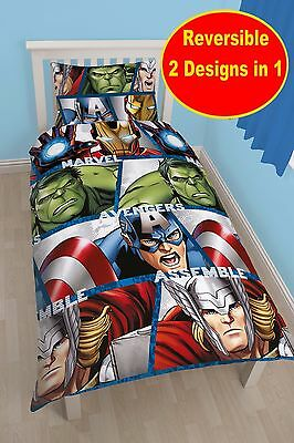 New Marvel Avengers Single Duvet Quilt Cover Set Boys Kids Childrens Bedroom