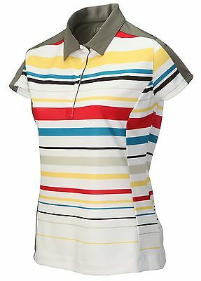 Callaway Flare Ladies Golf Polo Shirt White Multi Stripe Grey Collar S & M New