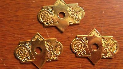 Three Antique Fancy Brass Victorian Eastlake Drawer Pull Backplates  c1885