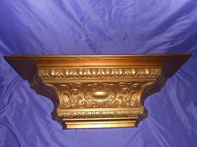 """Ex Large 2000 Homco Home Interior Gold Display Wall Shelf Bed Crown 30"""" W"""