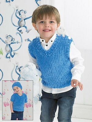 James C Brett Flutterby Chunky Yarn Boys Slipover & Hat Knitting Pattern JB316