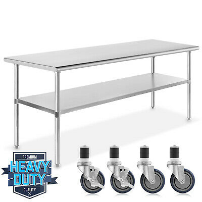 "Stainless Steel Commercial Kitchen Work Food Prep Table w/ 4 Casters - 30"" x 72"""