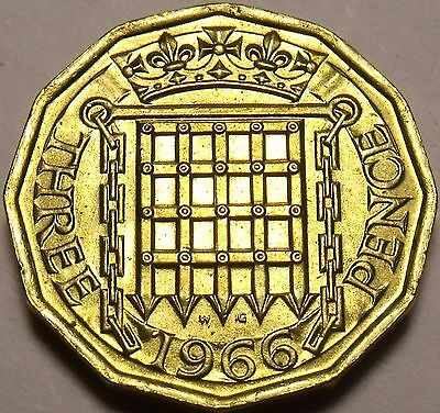 Gem Unc Great Britain 1966 3 Pence~Crowned Portcullis~Vintage~Free Shipping