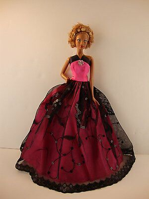 Hot Pink and Black Gown with Rhinestone Jewel on Bodice Made to Fit Barbie Doll