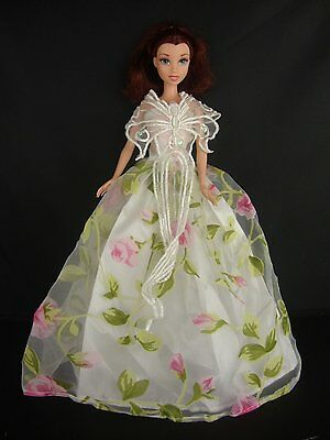 Floral Ball Gown with Lace Details on the Bodice Made to Fit Barbie Doll