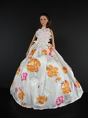 White Dress with Pink & Orange Flowers & Lace on the Bodice - Barbie Doll
