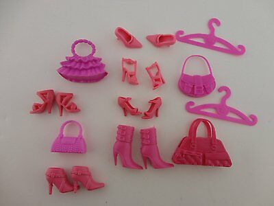 All Pink Barbie Accessory Pack- 4 Purses, 4 Pairs of Shoes, 2 Boots, 2 Hangers