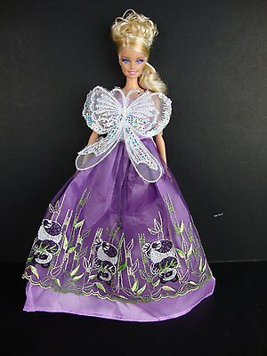 Purple Dress with Large Lace & Sequined Butterfly Detail on the Bodice