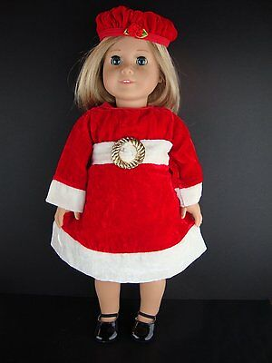 Christmas Dress in Red Velvet & White Trim, Gold Buckle, Hat & Purse