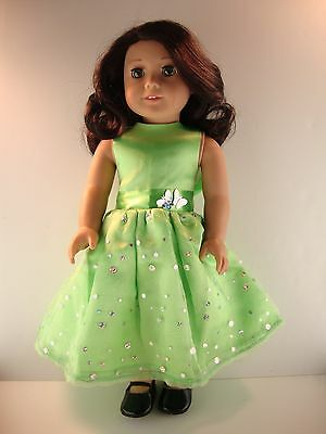 Lime Green Dress with Sequins - Designed for 18 Inch Doll, American Girl