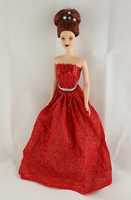 A 2015 Limited Edition Holiday Gown in Red Sparkles and Sequined Bodice
