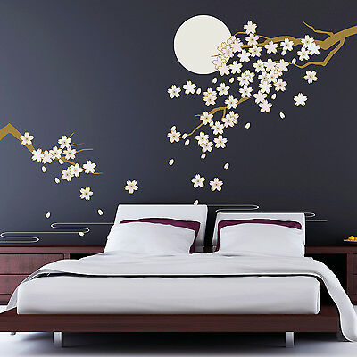 Decoration Decal Wall Stickers Blossom Moonlight Mural Art Cherry 270cm x 220cm