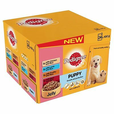 Pedigree Pouch Puppy Food Selection in Jelly 24 x 100g (Pack of 2, Total 48 pouc