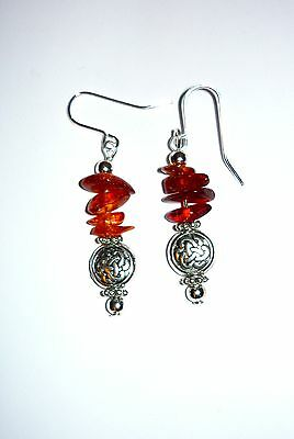 Celtic Bead & Amber Chip Drop Earrings