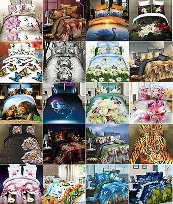 3D Effect Complete Set Duvet Cover Fitted Sheet Bed Linen Pillowcase Single King