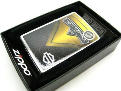 ZIPPO Brushed Chrome Yellow Black HARLEY-DAVIDSON Windproof Lighter! 28821
