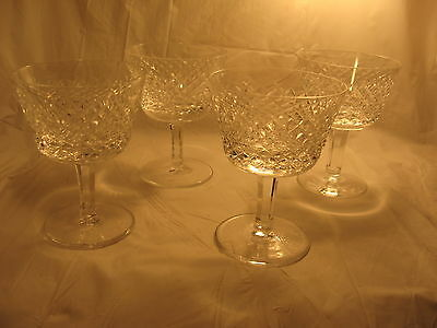 "Alana Waterford Stem Glass Goblet Set of 4 , 4 oz Crystal 4 1/8"" Liquor Cocktail"
