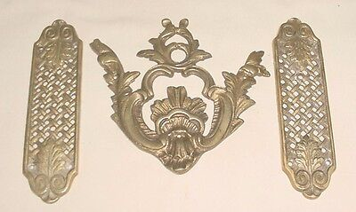 Antiq Bronze Lot 3 Decorative Furniture Different Open Work Appliques Ornaments