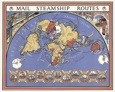 """Vintage illustrated World Map Mail Steam Ship routes CANVAS PRINT  24""""X 36"""""""