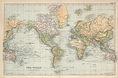 Beautiful Vintage Old World Map 1891 CANVAS PRINT  A3 Poster