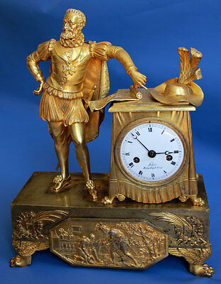 Very fine French EMPIRE Mantel Clock HENRY IV Victory Battle ca. 1800