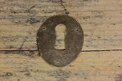 "oval brass Keyhole chest Lock Escutcheon door plate old 1 5/8"" vintage 1800's"