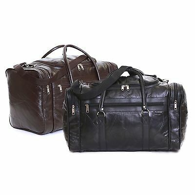 Real Leather Travel Weekender Cabin Luggage Handbag Gym Sports Holdall Bag