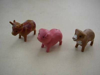 Vintage, Lot of 3 Miniature-Dollhouse, Farm Animals, Cow, Pig and Sheep