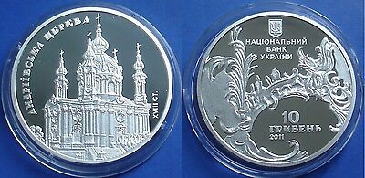 2011 Ukraine 10 UAH PROOF 1 OZ Silver St.Andrew Church-mintage 8000