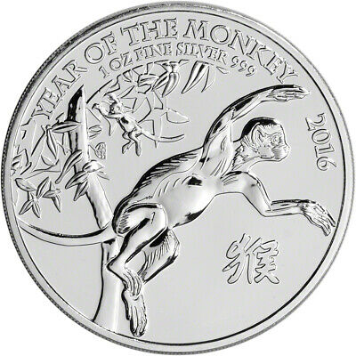 2016 Great Britain Silver Lunar Year of the Monkey £2 - 1 oz - BU