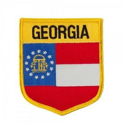 """Georgia State Shield Flag Embroidered Patch - Iron-On - New  3.5"""""""