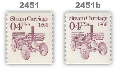 2451 2451b Steam Carriage 4c Tagging Variety Set 2 Transportation MNH - Buy Now