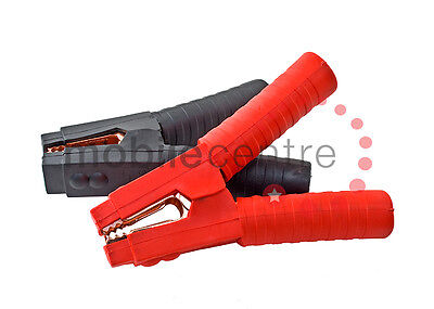 Set Black & Red heavy duty insulated crocodile clips jump leads booster cables
