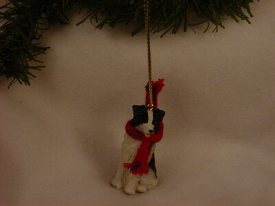 BORDER COLLIE dog HAND PAINTED ORNAMENT Resin Figurine HOLIDAY puppy CHRISTMAS