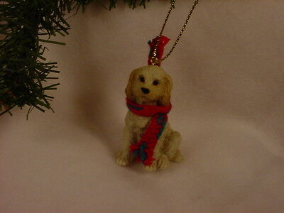 LABRADOODLE dog HAND PAINTED ORNAMENT Resin Figurine Cream Blond Puppy CHRISTMAS