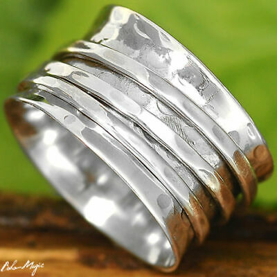 Sterling Silver 925 Ring Meditation Hammered Spin Spinning Jewelry Unusual Size