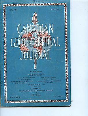 Old magazine CANADIAN GEOGRAPHICAL JOURNAL JULY 1934