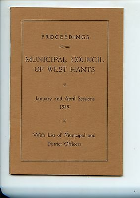 Old booklet MUNICIPAL COUNCIL of WEST HANTS NS 1949 Proceedings