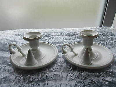 Pair of Antique White Porcelain Candle Holders Handled w/ Cone for Snuffer