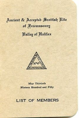 Old ANCIENT & ACCEPTED SCOTTISH RITE of FREEMASONRY booklet 1950 HALIFAX