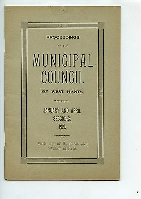 Old booklet MUNICIPAL COUNCIL of WEST HANTS NS 1919 Proceedings