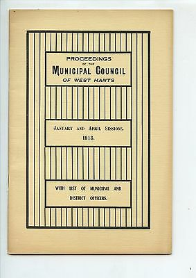 Old booklet MUNICIPAL COUNCIL of WEST HANTS NS 1913