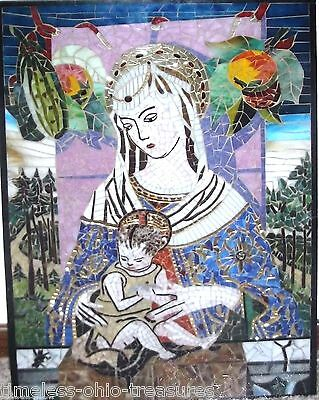 Stained Glass Window leaded Mother Child Madonna Jesus Picture 32 x 22